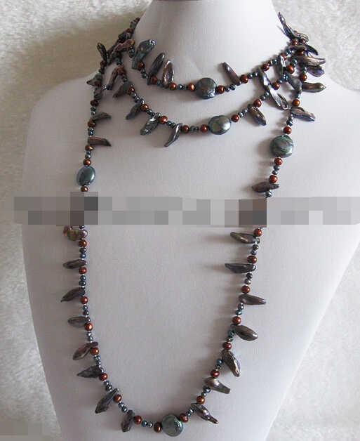 DYY Bỏ Lỡ charm Jew1938 4-14 mét Cà Phê Peacock Baroque Coin Ngọc Trai Nước Ngọt Vòng Cổ Trang Sức (A0329)