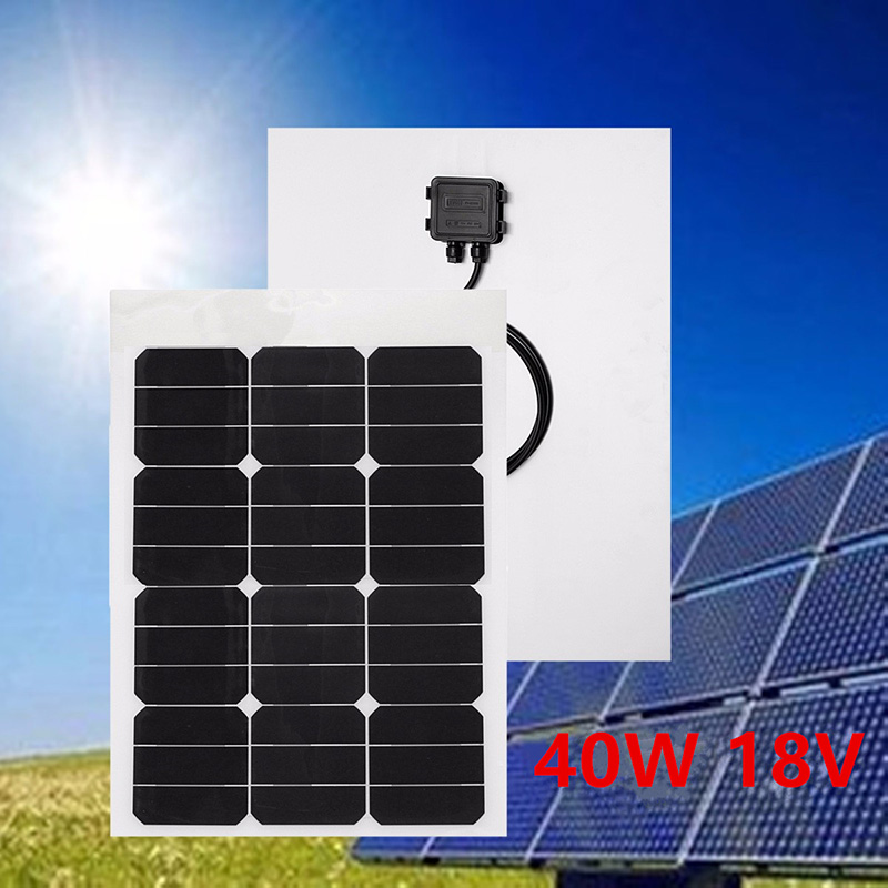 40W 18V Single Crystal Solar Panel Protable Solar Module With MC4 Connector 2 Meters Cable For Battery Charging RV Boat Caravan 1kw 10 x 100w 12v solar panel pv solar module for rv boat home battery charge