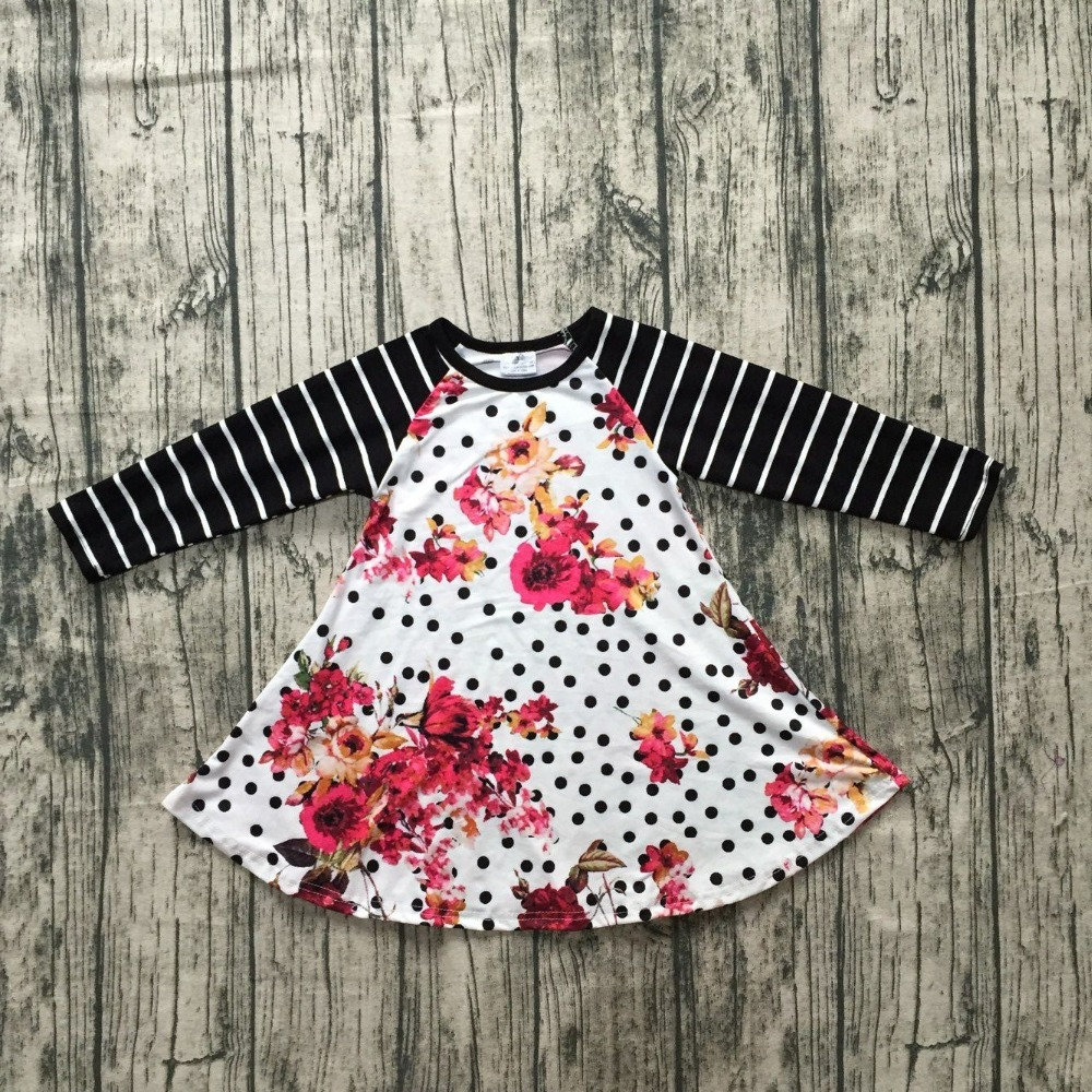 new design 2 colors in stock baby girls Fall/Autumn dress clothing children girls floral party dress stripes long sleeve dress flutter sleeve tie waist floral dress
