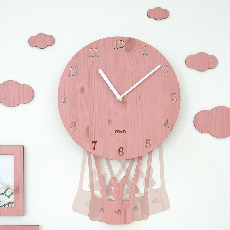 4 Colors Pink Carton Kids Room Wall Clocks Unique Balloon Watches ...
