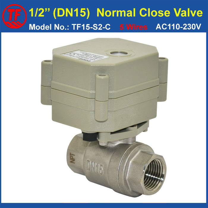 5 Wires BSP/NPT 1/2'' Normal Close Valve With Signal Feedback AC110-230V TF15-S2-C Stainless Steel DN15 Electric On/Off Valve ac110 230v 5 wires 2 way stainless steel dn32 normal close electric ball valve with signal feedback bsp npt 11 4 10nm