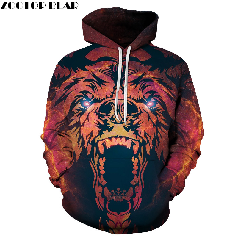 Supernova Space 3D Hoodies Men Brand Sweatshirts Bear Animal Hooded Pullover Fashion Causual Tracksuits Printed Jackets Unisex