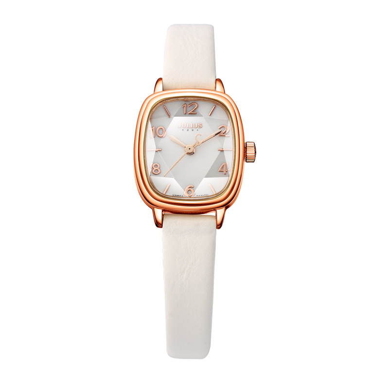 Saatler'ten Kadın Saatleri'de JULIUS Marka Logosu Lüks Kadın Izle Kristal Kare arama Deri Kayış Moda Saatler Gül Altın Relogio Feminino JA 885'da  Grup 1