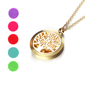 Image 2 - Top Sale Fashion Tree of Life 20mm/25mm/30mm Perfume Locket 316L Stainless Steel Essential Oil Diffuser Locket Pendant Necklace