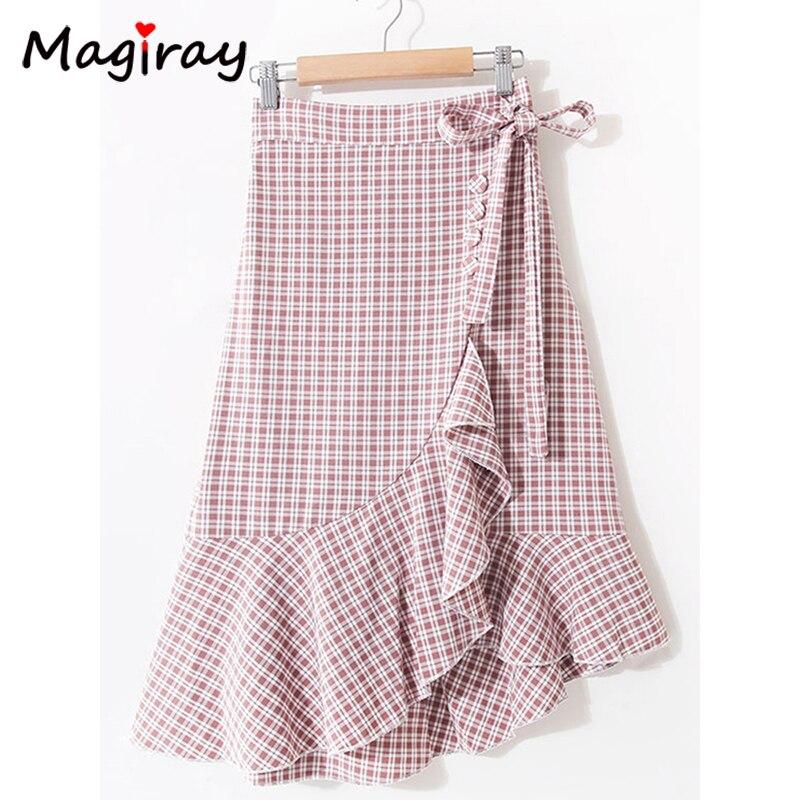 7453c18f9 Mairay Harajuku Plaid Ruffle Midi falda mujeres lazo Split Sexy coreano  2019 A línea de verano Rosa ...