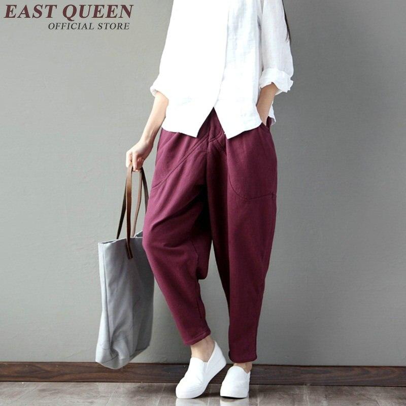 New autumn baggy pants women solid linen trousers women hip hop patchwork harem pants elastic waist pencil trouses KK1035 HQ 3