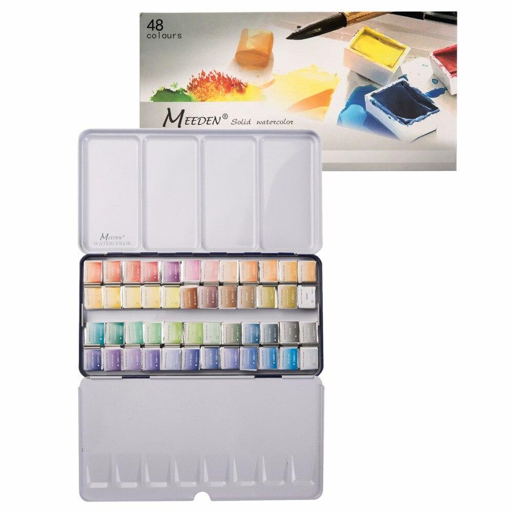 MEEDEN Art Watercolor Tin Palette Paint Set with 48 Colors Half Pan Paints Portable Watercolor Paint Set for Field Sketch