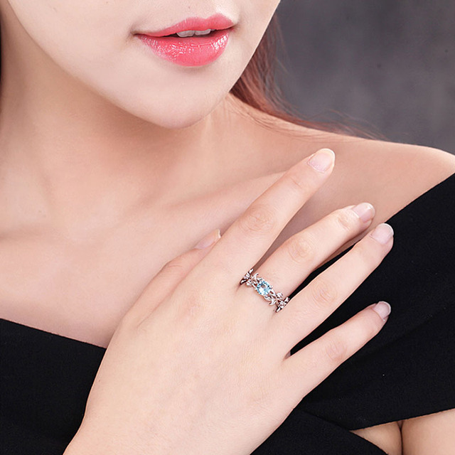 LNRRABC Hot Flowers Finger Alloy Rings For Women Crystal Middle Ring Fashion Jewelry  1