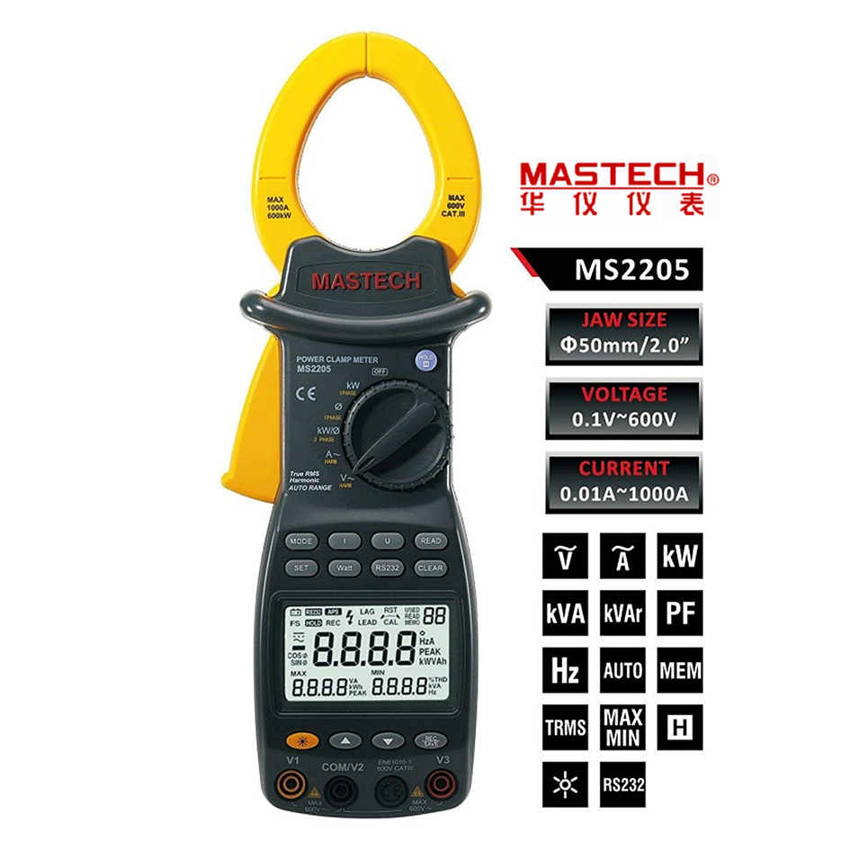 MASTECH MS2205 TRUE RMS Harmonic Power Meter Auto Ranging Smart Digital Power Clamp Tester With Back Light And Rs232 Interface цены