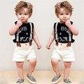 Meninos Moda T shirt do Terno + Bib Conjunto macacão 2 peças letra do alfabeto T camisa roupa Dos Miúdos das crianças calções cinta definir Livre navio