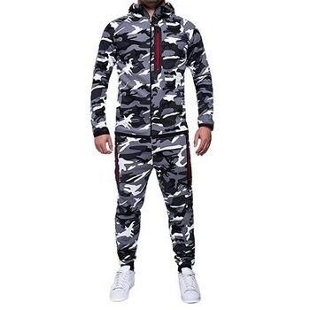 27d35a3d11 2019 nueva moda camuflaje estampado sudadera Chaquetas Pantalones conjunto  hombres otoño cálido ropa de abrigo chándal Casual Hombre Ropa deportiva