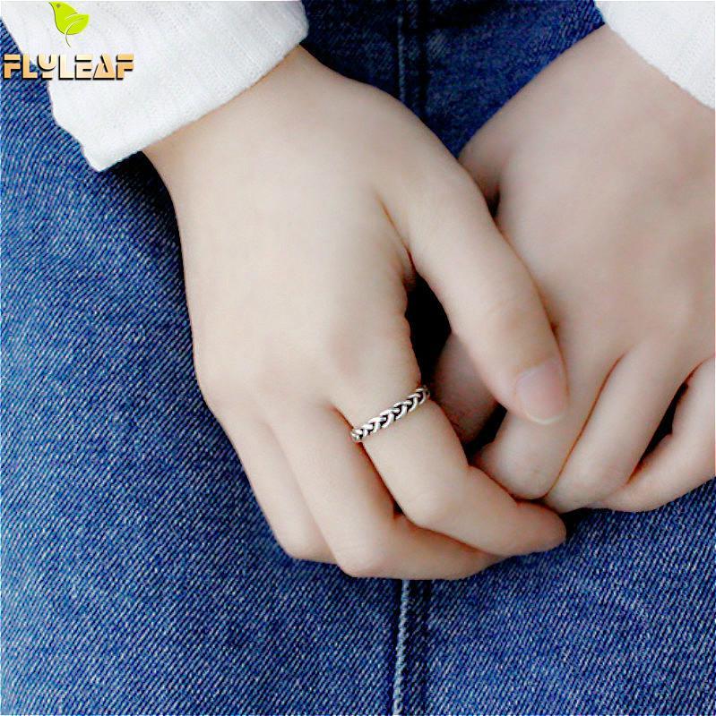 Ringe Flyleaf 925 Sterling Silber Ringe Für Frauen Weben Twist Femme Mode Edlen Schmuck Einfache Offenen Ring Vintage Hohe Qualität Phantasie Farben