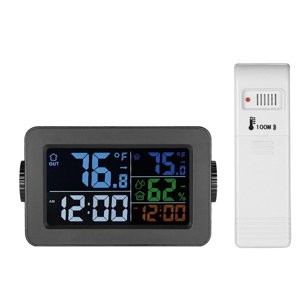 Digital Thermometer Hygrometer Temperature Humidity Meter Alarm Clock Snooze Backlight Color Screen +Transmitter Indoor/Outdoor