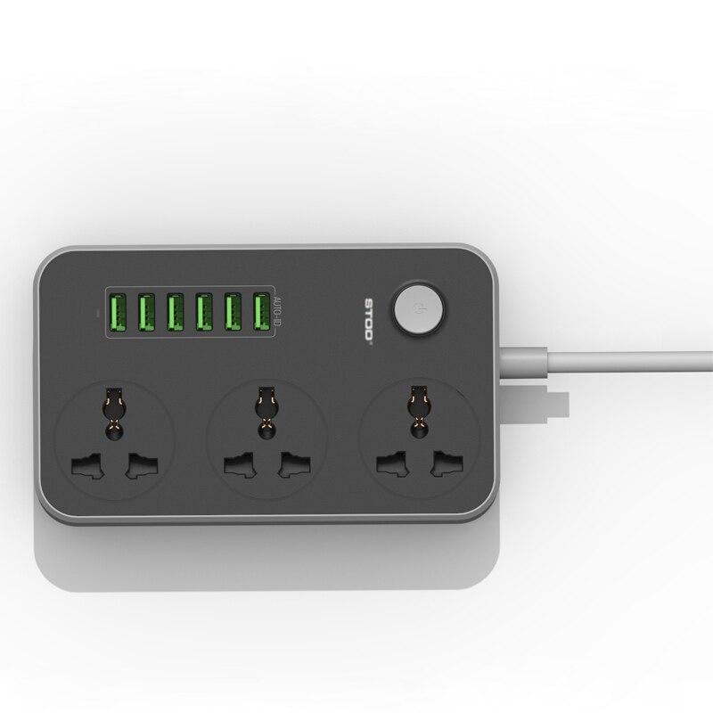 STOD Multi Port Home Charger 6 USB 17W 3 AC-kontaktuttag 2500Watt - Reservdelar och tillbehör för mobiltelefoner - Foto 4