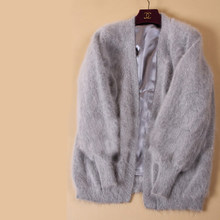 100% Nature Mink Fur Coat with lining Fashion Knitted Mink Fur Cashmere Overcoat Women Mink Fur Jacket FP703(China)
