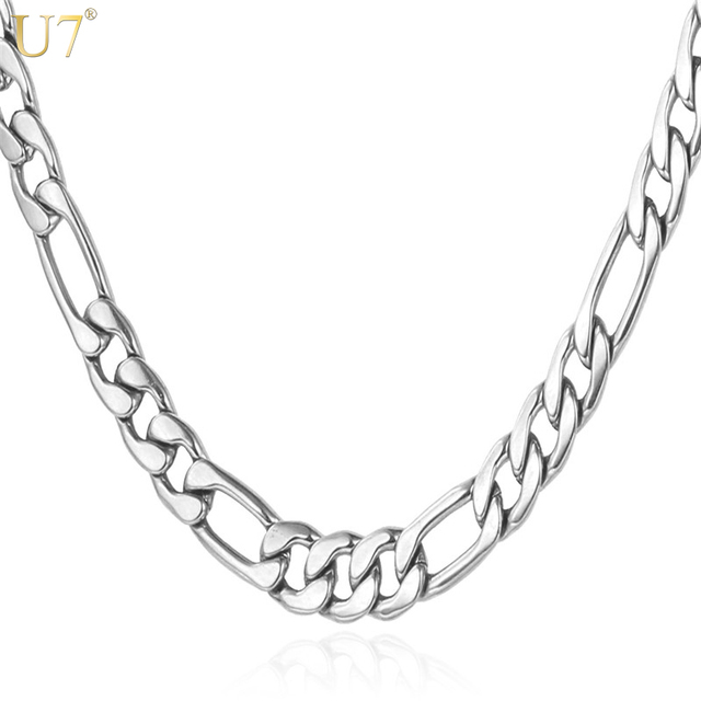 U7 Trendy Necklaces High Quality 316L Stainless Steel 55cm/71cm Figaro Chains Necklaces & Pendants Men Jewelry N324