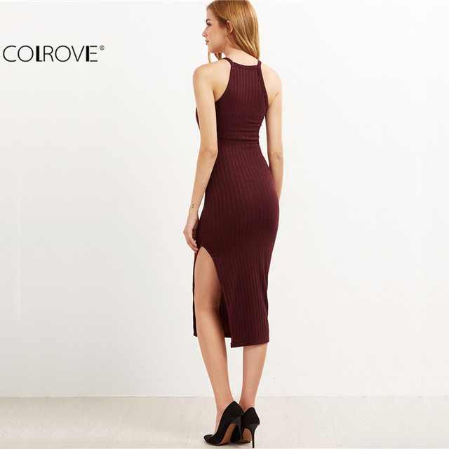 COLROVIE Women Sexy odycon Cami Dress Winter Autumn 2017 Women Fall Fashion Designer Side Slit Ribbed Midi Dress