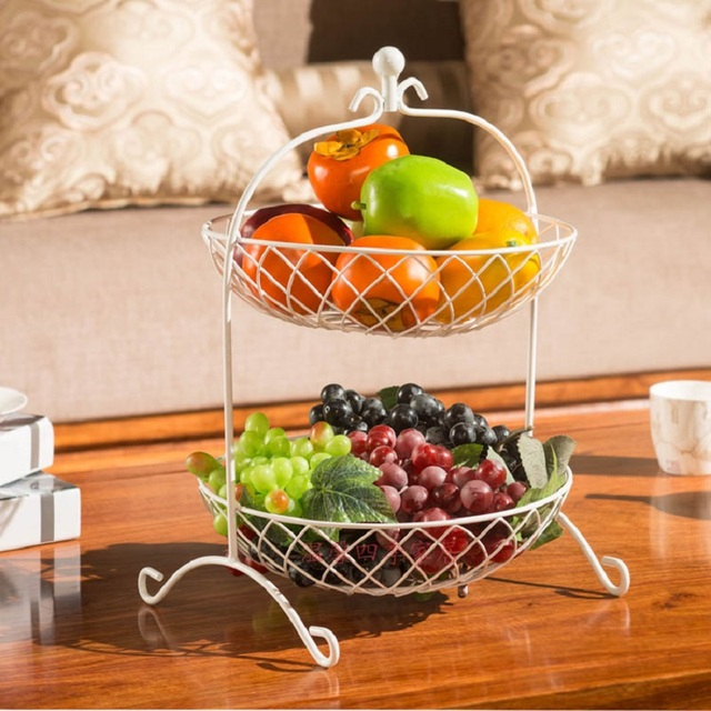 Fruit Basket Bandeja Kitchen Storage Rack Fruit Pots Dish Metal Two Story Fruit  Basket Storage