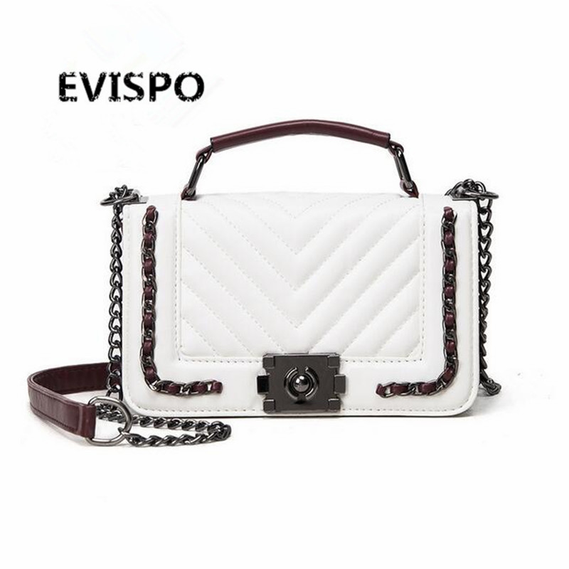NEW EVISPO Handbag red  / black / white /  3-color shoulder bag sac a main femme sac a main femme de marque luxe cuir 2017 посняков а мятеж