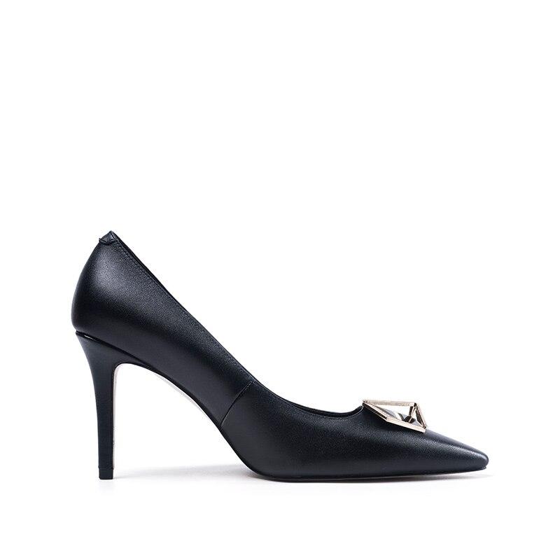 Et Talons Super Black Haute Véritable white Cuir Dames Mince Chaussures Slip Univers Élégant Parti H144 Automne Toe Printemps on Point En Femmes Pompes PFZF8fxwq