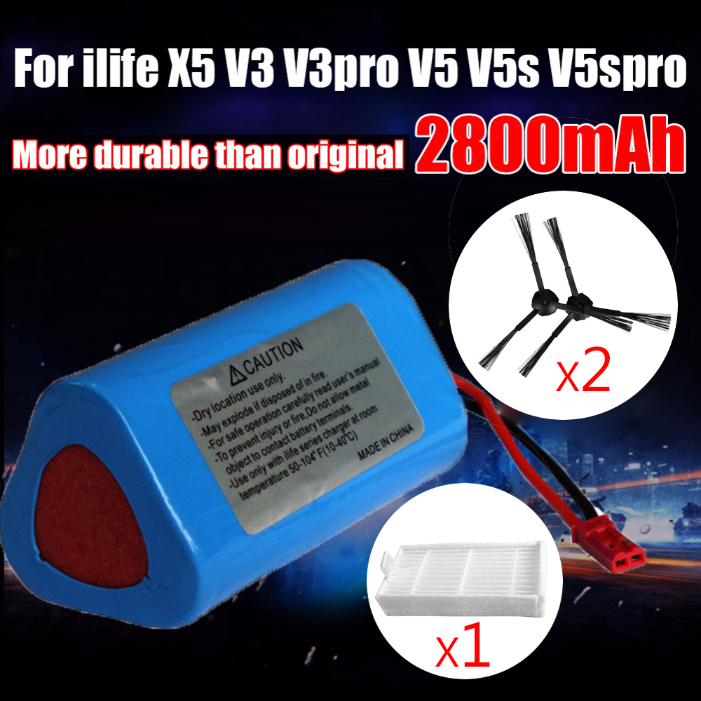 2600mAh Robot Vacuum Cleaner Battery Brush Filter Replacement Parts For Ecova Ilife V1 V3 X3 V3
