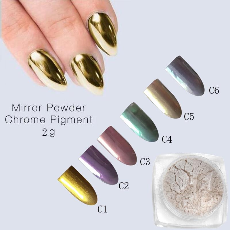 Nail Chrome Powder Canada: 2g Mirror Powder Gold Chrome Pigment Powder Aluminium