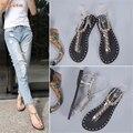 De alta qualidade Da Moda Sandálias Das Mulheres Frisado Plana Aleta Sandálias Sólidos