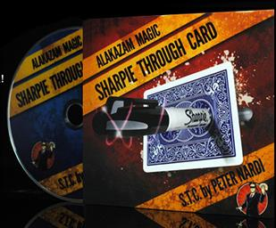 Sharpie Through Card (DVD+Gimmick) - Card Magic Trick,Accessories,Mentalism,Close-Up Magic,Fun,Illusion,Magia Toys Joke
