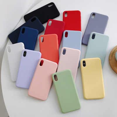 Color Caramelo Suave de silicona de parejas para iphone X XS X Max XR X 10 6 7 8 Plus sólido color TPU cubierta de la caja del teléfono Coque Capa