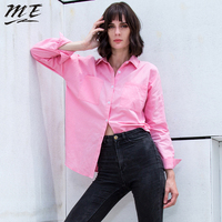 ME 2017 Women Autumn Spring Long Cotton Blouse Shirts Full Sleeve Split Lace Up Loose Blouse