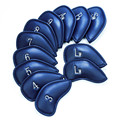 Iron Golf Head Cover Set Lederen Nummer Tags 12 pcs Putter Golfclub Headcovers met Velco Wedge Duurzaam Rood Blauw kleuren 3-Sw