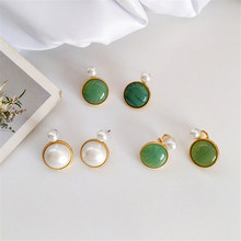 Retro geometric green white imitation pearls round earrings fashion lady beautiful Delicate exaggeration
