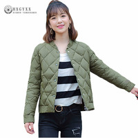 2019 Ultra Light Autumn Jacket Women Coat Slim Thin Wadded Jackets Argyle Solid Color Plus Size Short Female Outerwear OKD183