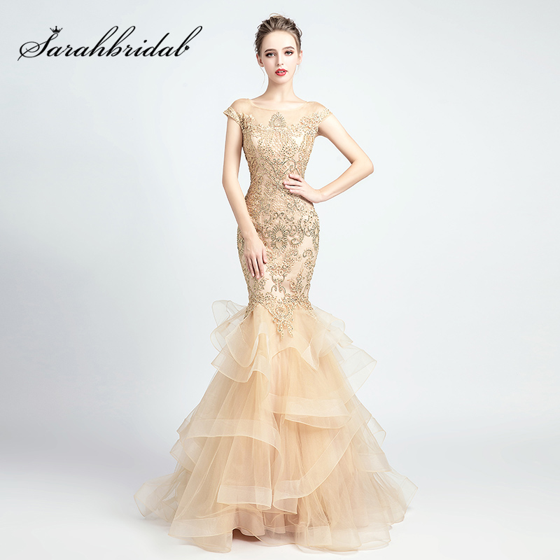2019 Newest Lace Appliques Mermaid Evening Dresses with Beading Tiered Skirt Prom Dress Vintage Women Formal