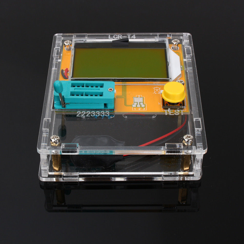 Pantalla LCD Digital LCR-T4 Mega328 DV 9 V Transistor Tester de triodo capacitancia ESR Metro 25pF-100000uF con cáscara del ABS