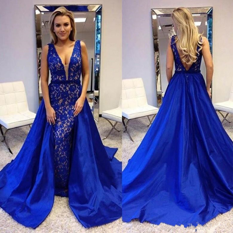 Unique Satin Lace Evening Gowns V-Neck Open Back Sexy   Prom     Dress   Sleeveless Sweep Train Custom Made Elegant Beautiful Party Gown