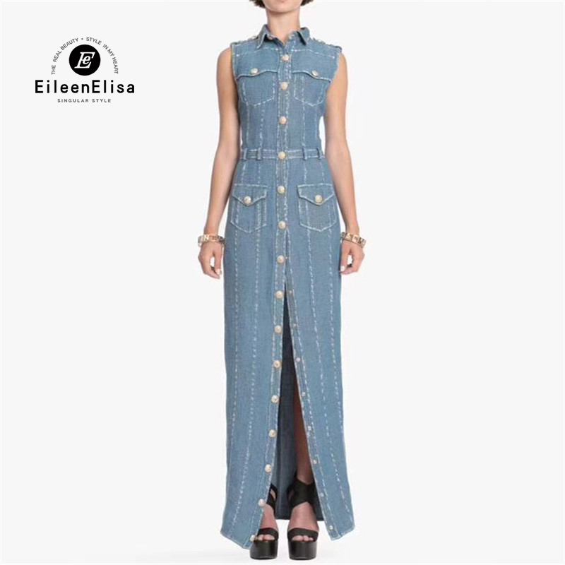 Denim Long Dresses Women 2018 Summer High Waist Sleeveless Dresses Luxury Floor Length Jean Dresses