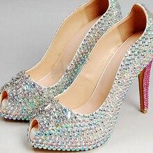 Fashion  High Heel Peep Toe Shoes Rhinestone Wedding Dress Shoes Lady Evening Party Shoes Night Club Dress Shoes