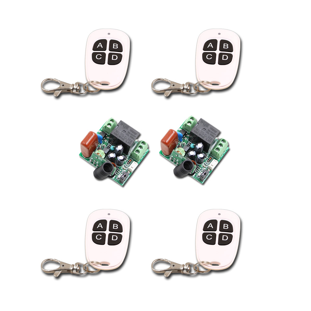 NEW!!! AC220V Mini 10A 1CH RF Wireless Remote Control Switch System 4Transmitter + 2Receiver 315/433mhz new restaurant equipment wireless buzzer calling system 25pcs table bell with 4 waiter pager receiver