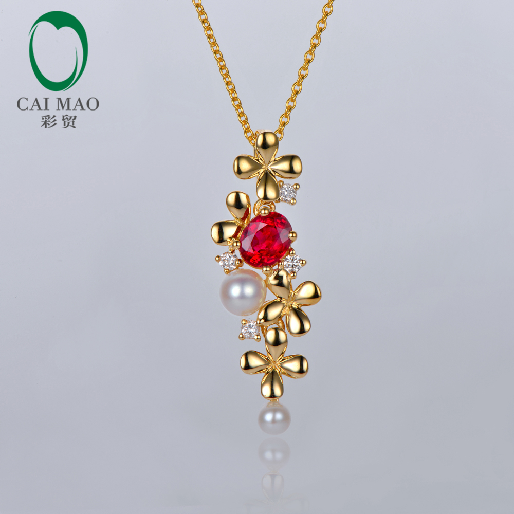 Caimao Jewelry Natural Oval Red Ruby With Pearl and Diamond Engagement 14ct Yellow Gold Pendant caimao jewelry natural red ruby with pearl and diamond engagement 14ct yellow gold pendant