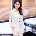 Новый 2016 V-Образным Вырезом Шелковый Атлас Пижамы женщин пижамы белый sexy пижамы набор Loungewear М, L, XL, 2XL, 3XL Плюс Размер Твердых _ _ 8 Цветов