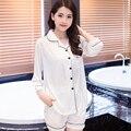 Novo 2016 V-pescoço De Cetim De Seda Pijamas mulheres sleepwear branco sexy conjunto de pijama Loungewear M, L, XL, 2XL, 3XL Plus Size Sólida _ _ 8 Cores