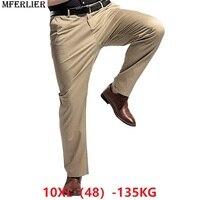MFERLIER autumn men casual pants 5XL 46 48 Elasticity large plus size big 7XL 8XL 9XL 10XL loose Khaki pants Straight Trousers