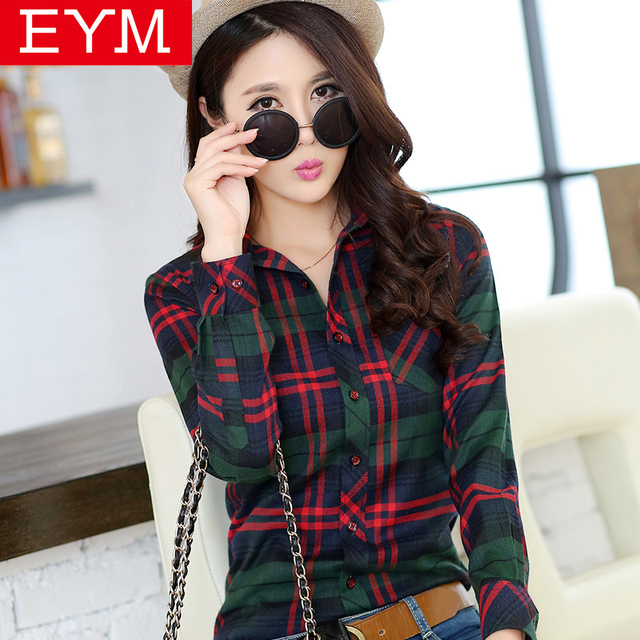 Women Blouses New Spring Fashion Plus Size Plaid Shirt Females Cotton Long Sleeve Casual Shirts Style Blusas Femininas Clothing