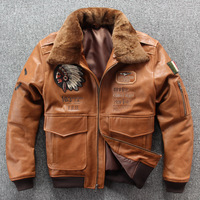 2019 New Men Embroidery Indian Skull Air force flight A1 Pilot Sheepskin Jacket Casual Wool collar Real leather jacket S XXXL