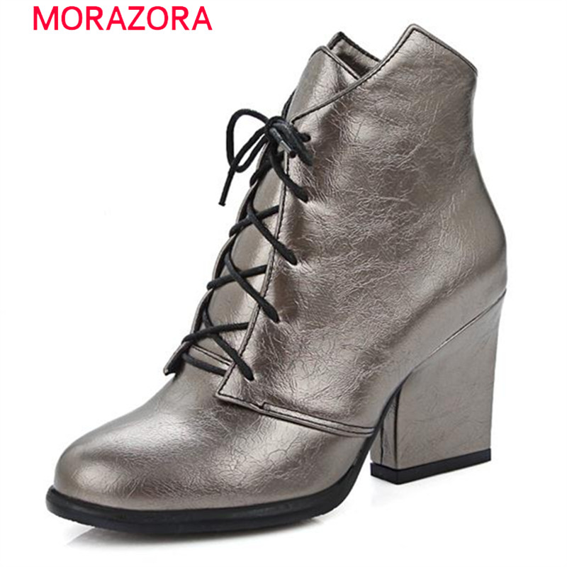 MORAZORA Large size 34-47 high heels boots pu in spring autumn women boots lace-up work ankle boots sexy fahsion solid цены онлайн