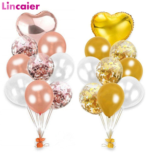 10pcs Rose Gold Confetti Balon Happy Birthday Decoration First Birthday Baby Boy Girl Party Kids Adult 1st One Year Just Married