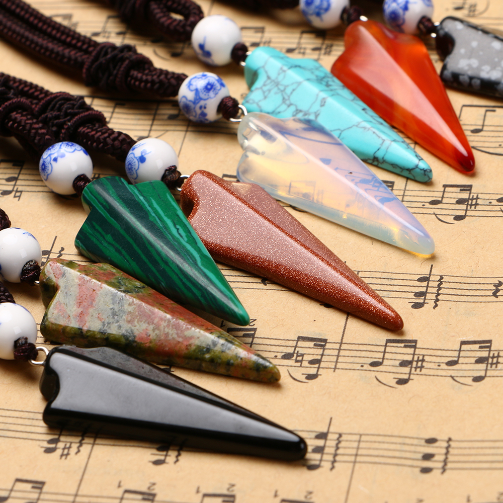 Natural Stone Arrow Pendant Rope Chain Necklace Crystal Jewelry Choker Rhinestone Malachite Tiger Eye Opal Ketting Quartz