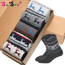 Rabbit Wool Autumn Winter Thick Warm Men's Socks Quality Lovely Classical Deer Geometric Pattern Foreign Sock Meias Calcetines