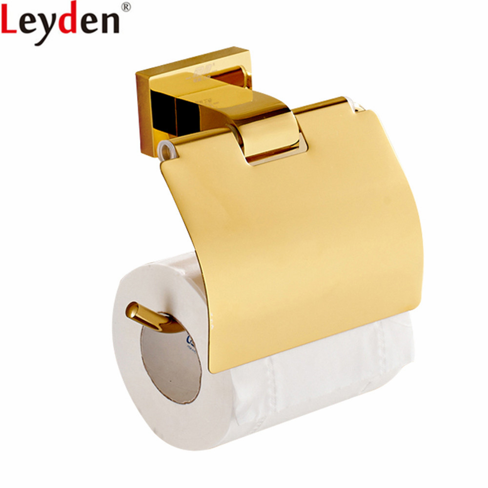 Leyden Toilet Paper Holder Gold Brass Wall Mounted Tissue Holder Roll Paper Holder Bathroom Accessories Toilet Paper Holder free shipping jade & brass golden paper box roll holder toilet gold paper holder tissue box bathroom accessories